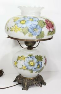 Vintage Gone with the Wind Electric Floral Flower Glass Shade Table Lamp