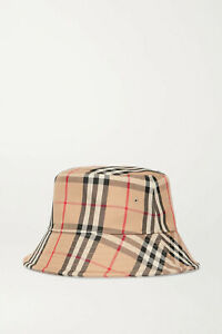 BURBERRY Checked cotton-blend twill bucket hat, Beige, New with tag!!!