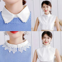 Ladies Women Detachable Lapel Shirt Fake False Collar Blouse Bib Neckwear