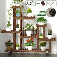 Multi Tier Wood/Metal/Bamboo Plant Flower Stand Shelf Rack Holder Indoor Outdoor