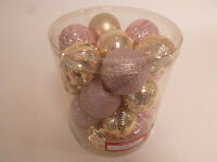 "Set of 26 Pink Gold Shatterproof 2.25"" Christmas Tree Bulb Ornament Hanging Ball"