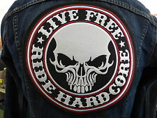 GRAND ECUSSON PATCH THERMOCOLLANT/ LIVE FREE RIDE HARDCORE crane biker métal usa