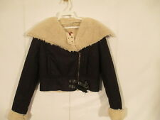 J J Winter Assymetric Faux Shearling Jacket S Black NWT