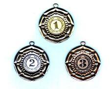100 Exklusiv Medaillen bronze #665 mit Band + Emblem (Turnier Pokal Medaille)
