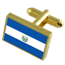El Salvador Gold-Tone Country Flag Cufflinks Select Gift Pouch