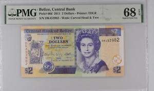 Belize 2 Dollars 2011 P 66 d Superb Gem UNC PMG 68 EPQ Top Pop