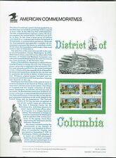 1991 USPS Commemorative Sheet - District of Columbia - 4 x 29 Cent Stamps