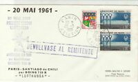 France 1961 Lufthansa Paris-Santiago Boeing 720B 1st Flight Stamps Cover Rf27938