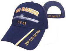USS Ranger CV 61 Ball Cap Embroidered US Navy Veteran Top Gun Carrier USN Hat