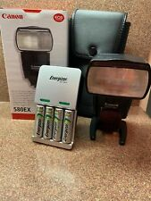 CANON Speedlite 580EX Electronic Flash Case Stand Rechargeable Batteries Charger