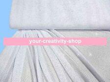 Jersey Weiss Silber glitter, grobmaschig, 1 Meter, 130 cm breit, Meterware Netz
