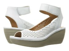 Clarks REEDLY SALENE Womens White 24827 Wedge Open Toe Sandals