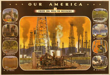 Original Vintage Poster Our America Oil Refinery 1943 Coca-Cola School Chart