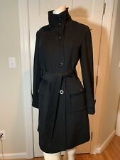 Kenneth Cole Reaction Women's Black Wool-blend Belted Asymmetrical Trench Small