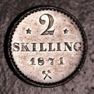 NORWAY SILVER (BILLON) 2 SKILLING 1871 (HIGH GRADE!)