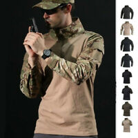Military Mens Tactical T-Shirt Army Short Sleeve Combat Zipper collar Long Shirt