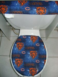 NFL Chicago Bears Fabric Elongated Toilet Seat Lid & Tank Cover Set