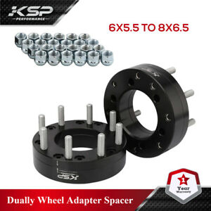 2 Wheel Adapters 6 Lug 5.5 To 8 Lug 6.5 Spacers 6x5.5 To 8x6.5 2""