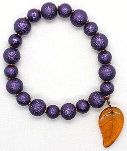 Textured dyed PURPLE ROUND GLASS BEADS BRACELET Bronze wire/ AMBER Leaf size 7-8