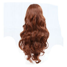 Long Heat Resistant Inclined Bang Big Wavy Auburn Red Cosplay Full Wig I8H5