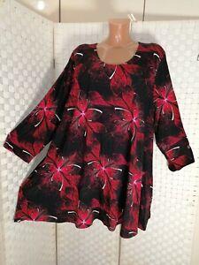 Naveed ca 52 54  (3) Tunika Taschen Shirt schwarz rot Blumen NEU A-Linie