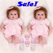 "16"" Cute Reborn Twins Newborn Baby Dolls Girl Doll Realistic Handmade Preemie US"