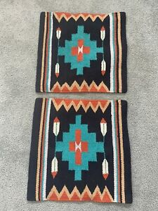 Lot Of 2 El Paso Saddle Blanket Co Woven Pillow Covers Southwest Native 18x18