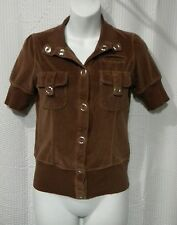 Wet Seal Juniors Size S Brown Velour Large Snap Front Short Sleeve Top