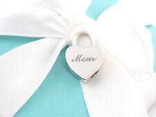 Tiffany & Co Silver MOM Heart Padlock Pendant Charm Use 4 Necklace Bracelet Box