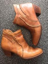 Vintage Women's Brown Leather 9 D 9.5 Ankle Short Western Cowboy Boots Brazil
