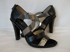 Coach 9 M  Tawnee Black Multi Color Leather Open Toe Heels New Womens Shoes NWOB