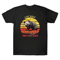 Live Ugly Fake Your Death Opossum Vintage Funny Gift Tee Men's Cotton T-Shirt