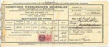 ORDRE DE PAIEMENT COMPAGNIES ASSURANCES GENERALES 1937  BRIVES  TIMBRES FISCAUX