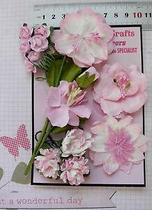 LIGHT PINK & WHITE - 14 Flowers + Leaves - 6 Styles = PAPER Flowers 15-55mm VB5