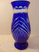 Vintage Czech Bohemian Cobalt Cut to Clear Glass Crystal Vase