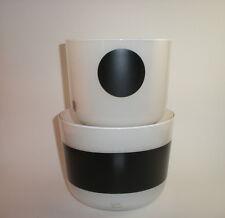 Anne Nilsson Bowl Art Glass Black & White Stripe Dot Mod 2 pc mid century modern