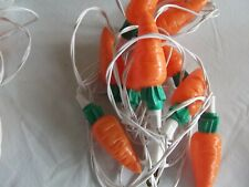 vtg orange Easter vegetable garden carrot string light 10 covers blow mold New