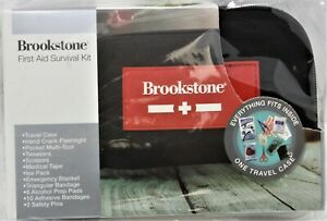 BROOKSTONE First Aid Survival Kit w/ Travel Case Camping Emergency #New #90737