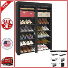 ERONE Shoe Rack Storage Organizer  28 Pairs Portable Double Row with Nonwoven...