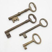 Lot of 4 Brass Jail Cell Door Lock Skeleton Keys Jailer Vtg Old Style