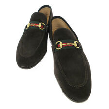 GUCCI Shelly Line Mens Horsebit Shoes Loafers Brown Suede #8 1/2 322500 NR14097