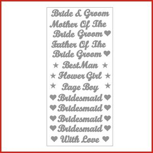 Bride Groom Words Vinyl Stickers Letters for wedding labels various colours