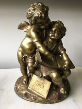 19th c. Antique French Moreau Bronze Sculpture of a Young Girl and a Cupid