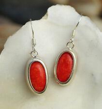 Silber Ohrhänger 3 cm Rot Koralle Rund Oval Schlicht Modern Ohrringe Elegant