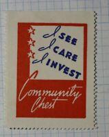 I Care, I See, I Invest  Community Chest Patriotic Poster Stamp