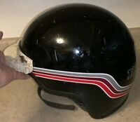 Vintage Vetter Fiber 300 DOT Black Striped Motorcycle Helmet