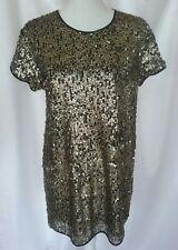 One Teaspoon Womens M Sequin Tunic Top Mini Dress Black Gold Party NYE