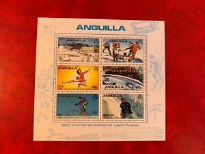 ANGUILLA 1980 MNH MINISHEET OLYMPICS ICE HOCKEY SKATING BOBSLED SKIING LUGE
