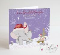 Cute PERSONALISED Elephant & Bunny Christmas Card - Girls Granddaughter Daughter