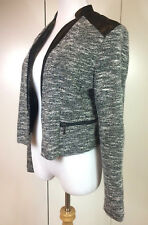 Item 434  MOSSIMO BLACK CROP JACKET BOLERO with FAUX LEATHER DETAILING SZ M